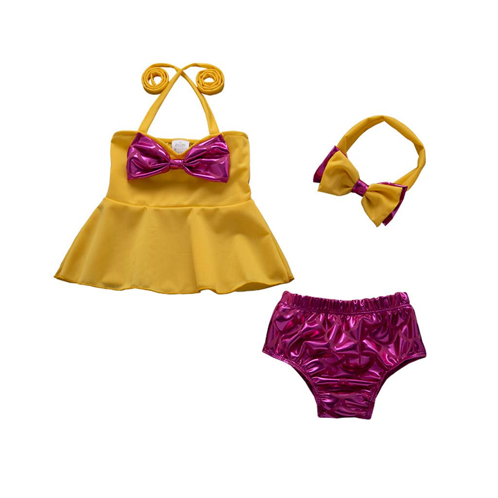 YRD TECH Baby Girl Fashion Swimsuit 3 Pieces Bathing Suit Bikini Shorts Set Swimwear