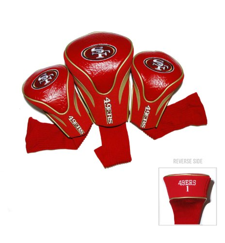 Fan Francisco San 49ers Nfl (Team Golf NFL San Francisco 49ers Contour Golf Club Headcovers (3 Count), Numbered 1, 3, & X, Fits Oversized Drivers, Utility, Rescue & Fairway Clubs, Velour lined for Extra Club Protection)