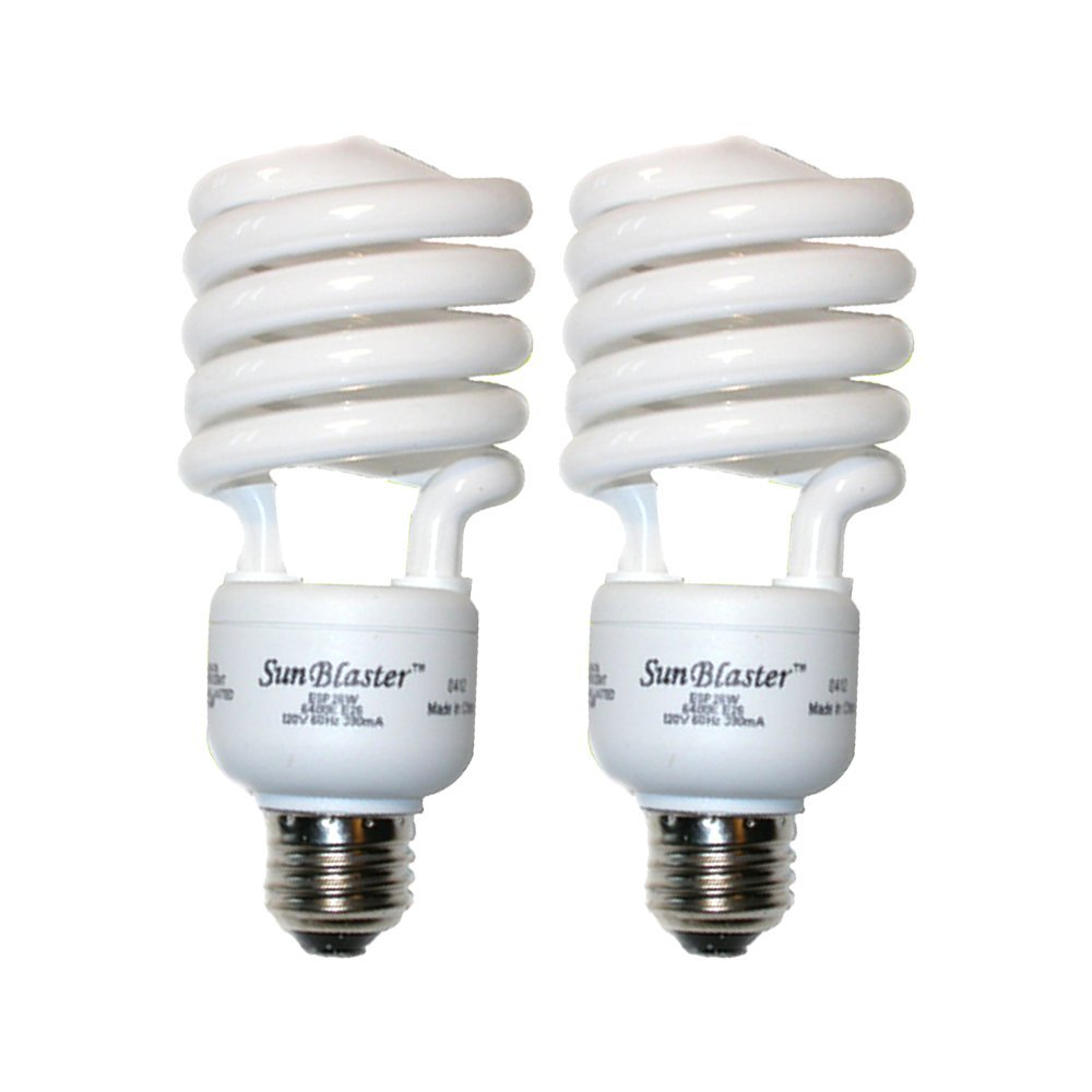 SunBlaster CFL Self ballasted Propagation lamp, 6400K Light Spectrum, 26 Watt, Fits Standard Size Light Socket (2 Pack)