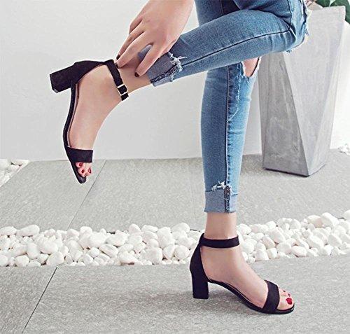 Im Sommer Sandalen mit dicken mit offenen Sandalen Wort Riemchensandalen Studenten lässig Schuhfrauensandelholze black