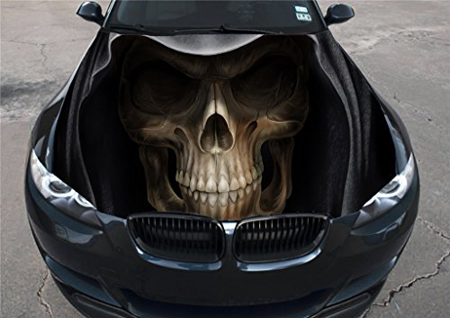 Full Color Skull Sticker Car Hood, Vinyl Sticker, Car Vinyl Graphics Decal, Wrap, Car Hood Graphics, fit Any Vehicles MH202