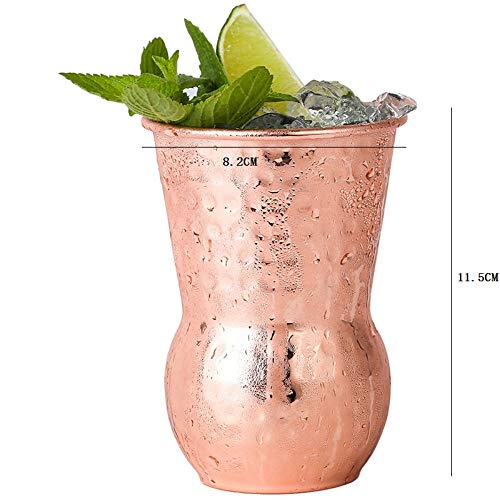 (Vintage Hammer Point Copper Plated Rose GoldDiceCup Stainless Steel Beer Mug Personality Cocktail GlassBar Metal Wine Glass400Ml)