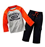 Coralup 'MOMMY'S HUNK' Long Sleeve Set Kids T-shirt+pants(Gray,4-5Years)