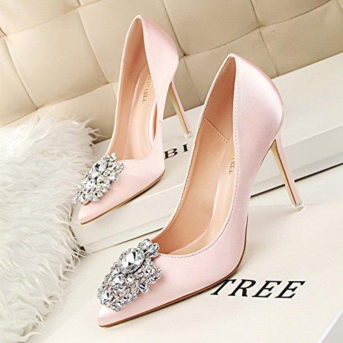 Schuhe mit Absätzen vielseitige Schuhe Mädchen rote Hochzeit mit Schuhe einzelnen Qiqi fein Xue und princess hohen Rosa hob 0PzIIx