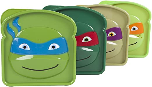 Evriholder Nickelodeon TMNT Sandwich SavR Lunch Box, Teenage Mutant Ninja Turtles Reusable Sandwich Containers, Assorted Set of 4
