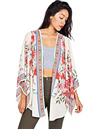 Pink Ice Womens Light Chiffon Kimono Cardigan w Boho Prints