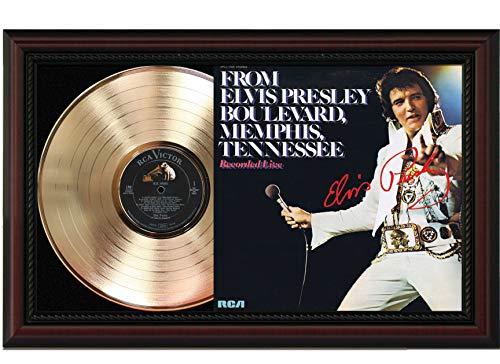 Elvis - Boulevard Cherrywood Framed Gold Reproduction Signature Display - Framed Boulevard