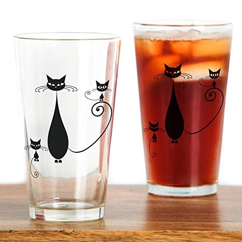 CafePress - Black Cat - Pint