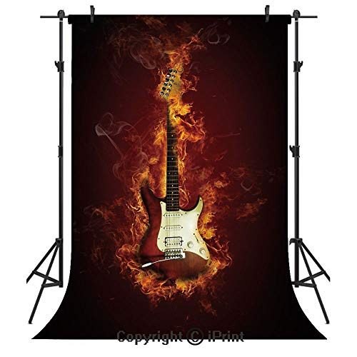 (Guitar Photography Backdrops,Electric Guitar in Flames Burning Fire Hardrock Musical Creativity Concept,Birthday Party Seamless Photo Studio Booth Background Banner 3x5ft,Maroon Orange Black)