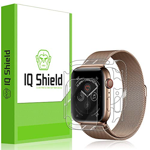 IQShield Apple Watch Series 4 Screen Protector [3-Pack], LiQuidSkin Full Body Skin + Full Coverage Screen Protector for Apple Watch Series 4 (44mm) HD Clear Anti-Bubble Film