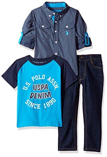 U.S. Polo Assn. Little Boys' Long Sleeve Shirt, T-Shirt and Pant Set, Multi Plaid, - Tartan Polo