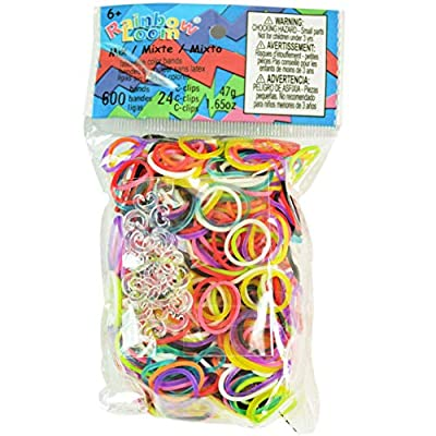 Rainbow Loom Mix Rubber Bands with 24 C-Clips (600 Count): Toys & Games