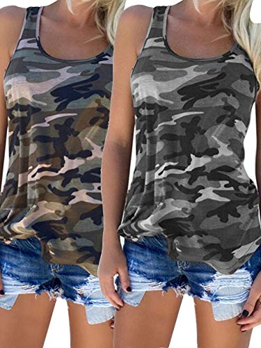 - Zcavy Women's 2-Pack Stretch Racerback Tanks Tops Running Sports Tank Tops Girls Scoop Neck Camouflage Yoga T-Shirt, Grey/Green, Small
