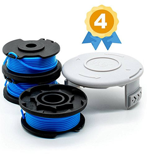 Garden Ninja 0.065'' Replacement Trimmer Spool Compatible Ryobi One+ AC14RL3A, 3-Pack Plus 1 Cap by Garden Ninja
