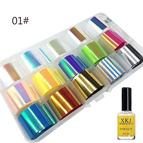 YJYdada Nail Art Transfer Foil Sticker For Nail Tip Decoration & Star Glue Set - Wholesale Supplies Nail Acrylic