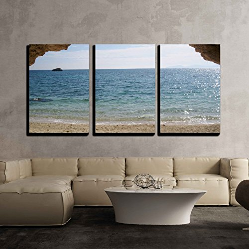 Paradise 3 Piece - wall26 3 Piece Canvas Wall Art - Paradise Beach, Turquoise Sea and Cave in Sardegna, Italy - Modern Home Decor Stretched and Framed Ready to Hang - 24
