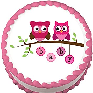 Pink Owls On A Branch Baby Shower Edible Cake Topper Amazon