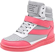 sekesin Women Girls High-Top Sneakers Hidden Heel Wedges Sports Casual Shoes Trainers Platform Lace up