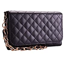 Premium Leatherette Quilted Chain Wristlet Wallet Purse Clutch Case Cover for Samsung Galaxy S4 i9500 - Black