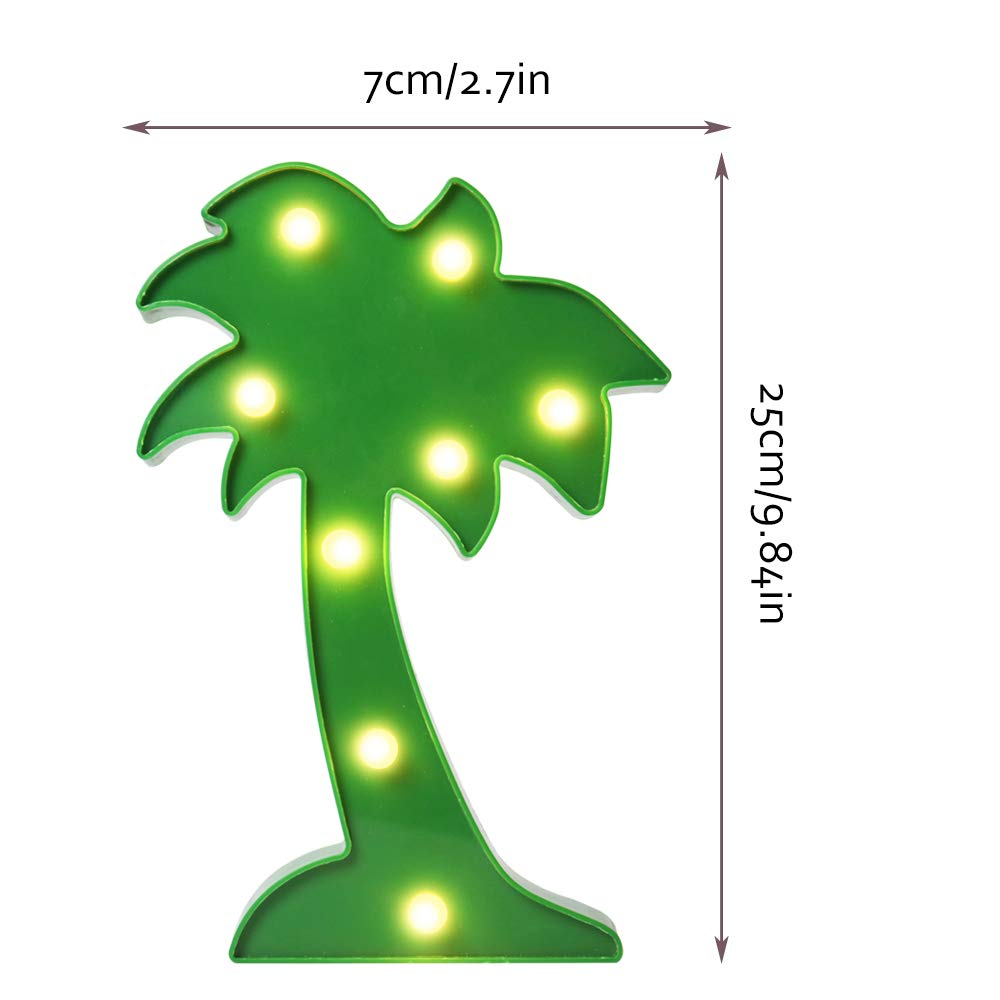 Vimlits 3D LED Coconut Tree Night Lamp Marquee LED Letter Palm Tree Night Light for Home Decoration Birthday Gift for Kids
