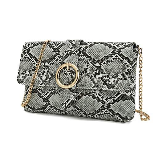 Charming Tailor Snake Clutch Purse with Wrist Strap PU Python Clutch Dress Handbag (Grey)