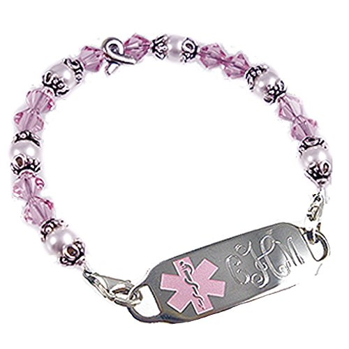 Breast Cancer Free Engraving, Ribbon of Hope Beaded Medical Bracelet (Beaded Hope Bracelet)