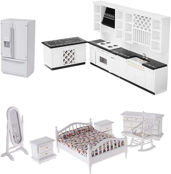 Amazon.es: F Fityle Juegos Muebles de Cocina de Madera para Muñecas Escala 1:12 Color Blanco: Juguetes y juegos
