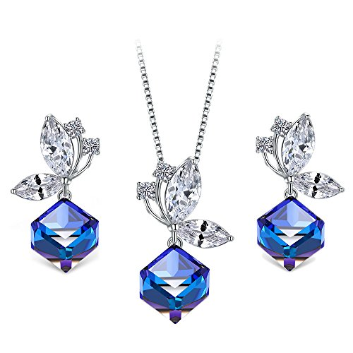 T400 Blue Black Butterfly Crystal Cubic Pendant Necklace for sale  Delivered anywhere in USA