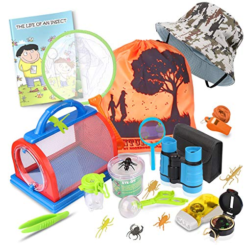 Outdoor Explorer Kit & Bug Catcher Kit with Binoculars, Flashlight, Compass, Magnifying Glass, Critter Case and Butterfly Net Great Toys Kids Gift for Boys & Girls Age 3-12 Year Old Camping Hiking (Spy Net Binoculars)
