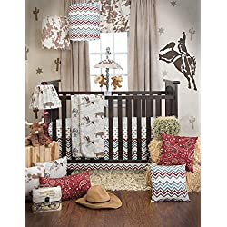 Sweet Potato Happy Trails Quilt, Emblem Print Sheet and Crib Skirt, Brown/Cream/Blue