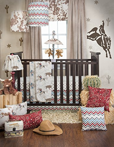 Sweet Potato Happy Trails Quilt, Emblem Print Sheet and Crib Skirt, Brown/Cream/Blue - Glenna Jean Velvet Crib Skirt