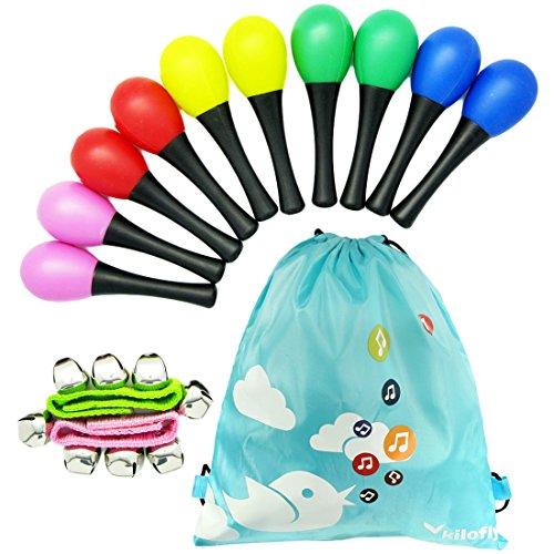 Tropical Maracas (kilofly Musical Toys Rhythm Plastic Egg Maracas Value Pack, 5 colors [Set of 10 + 2 Wrist Bells])