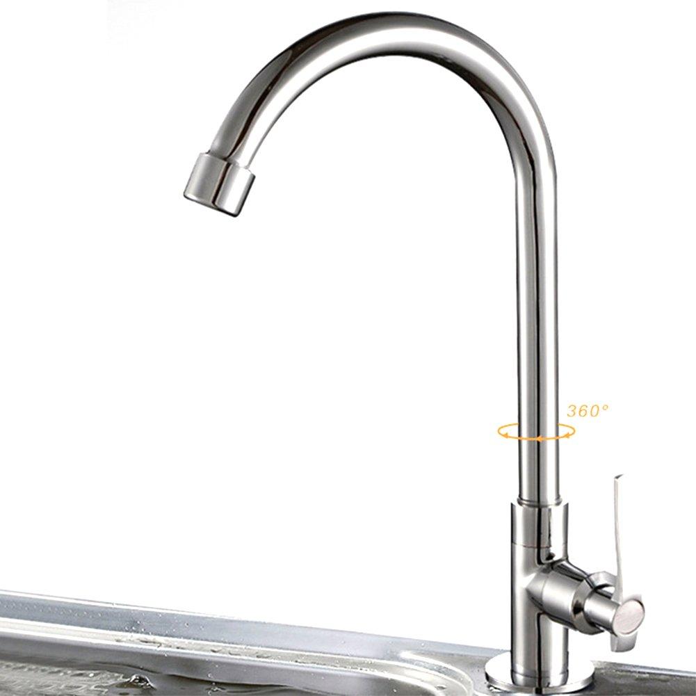 flexible grifo de lavabo de agua fr/ía As Picture Show montaje en pared Grifo monobloque de cromo con rotaci/ón de 360/° para grifo de cocina universal para cocina 1#