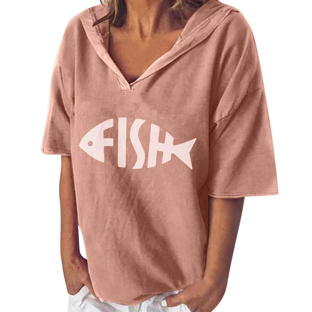 Sinfu Women's Fashion V-Neck Short Sleeve Fishbone Print Loose Hooded Shirt Top Summer Casual Pullover Blouse (L) by Sinfu