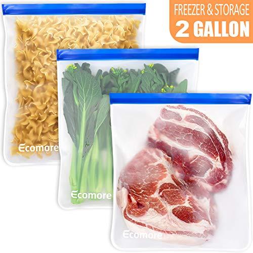 Ecomore Reusable 2 Gallon Freezer Bags – 3 PCS 2 Gallon Food Storage Bags LEAK-PROOF EXTRA THICK Reusable Lunch Sandwich…