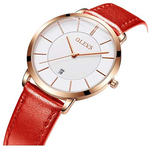 (OLEVS Ultra Thin Minimalist Big Face Dress Red Leather Wrist Watches for Women Ladies Waterproof Slim Classic Simple Casual White Large Dial Rose Gold Date Analog Quartz Watch Gifts with Band Clasp)