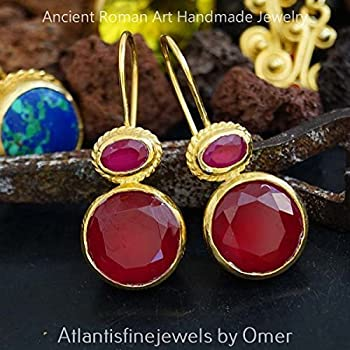 HAMMERED HANDMADE RED TOPAZ EARRINGS 24K GOLD OVER 925 STERLING SILVER BY OMER