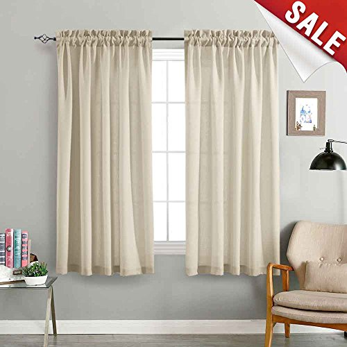 Linen Textured Sheer Curtain Panels for Living Room Curtain Privacy Semi Sheer Beige Drapes Window Curtains for Bedroom 72 inches Long 2 Panels Casual Weave Textured Curtain Panels (Panels Curtain Long 72)