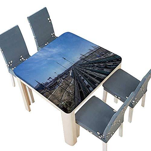 (PINAFORE Natural Tablecloth Palermo Home Use, Machine Washable 33.5 x 33.5 INCH (Elastic Edge))