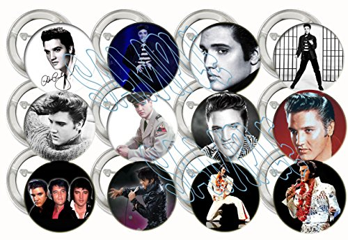 Elvis Presley Party Favors Supplies Decorations Collectible Metal Pinback Buttons Pins, Large 2.25