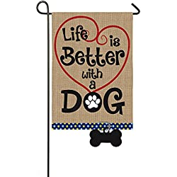 "Evergreen Life is Better with a Dog Double-Sided Burlap Garden Flag - 12.5""W x 18"" H"