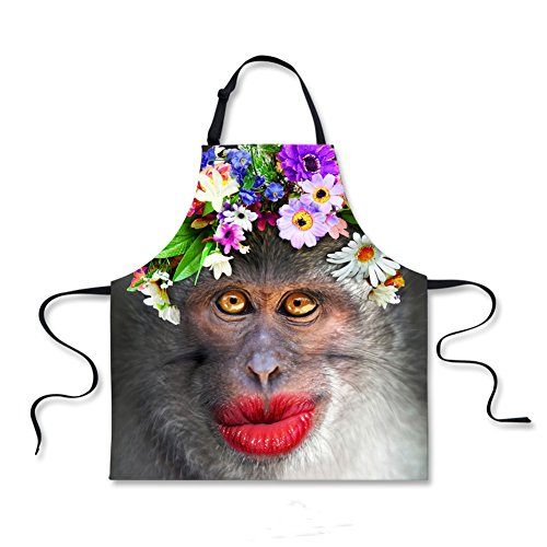 (Funny Monkey Bib Apron with Adjustable Neck Strap & Long Ties, BBQ Cooking Kitchen Baking Crafting Gardening Apron Party Entertainment Apron for Men Women HSW-040)