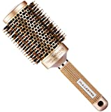 SUPRENT Nano Thermal Ceramic & Ionic Round Barrel Hair Brush with Boar Bristle, 2 inch, for Hair Drying, Styling, Curling, Adding Hair Volume and Shine, Gold Color