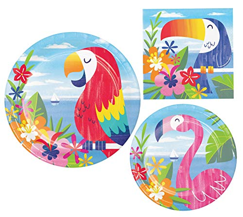 Tropical Hawaiian Lush Luau Party Supply Pack! Bundle Includes Paper Plates and Napkins for 8 Guests