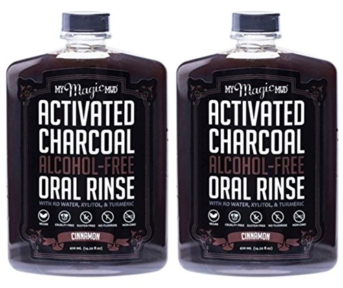 My Magic Mud Charcoal Oral Rinse Cinnamon (Pack of 2) With Activated Charcoal, Cinnamon, Organic Tumeric Extract, Menthol, Vitamin C, Nisin and Natamycin, 14.2 fl. oz. Each