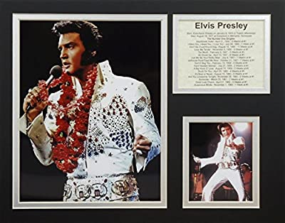"""Elvis Presley - White Suit 11"""" x 14"""" Unframed Matted Photo Collage by Legends Never Die, Inc."""