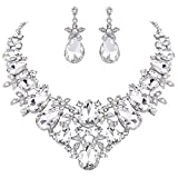BriLove Women's Bohemian Boho Crystal Flower Leaf Vine Teardrop Statement Necklace Dangle Earrings Set Clear Silver-Tone