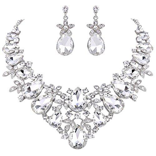 BriLove Women's Bohemian Boho Crystal Flower Leaf Vine Teardrop Statement Necklace Dangle Earrings Set Clear Silver-Tone -