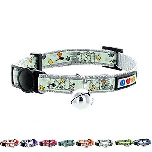 Pawtitas Glow in The Dark Cat Collar Safety Buckle Removable Bell Cat Collar Kitten Collar Grey Cat Collar by Pawtitas