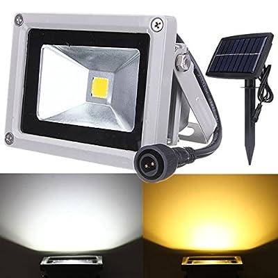 KAMOLTECH 10W Solar Power LED Flood Light Waterproof Outdoor Landscape Spotlight (White)